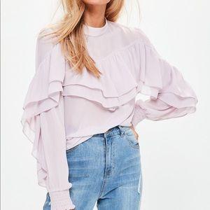 purple chiffon blouse Missguided
